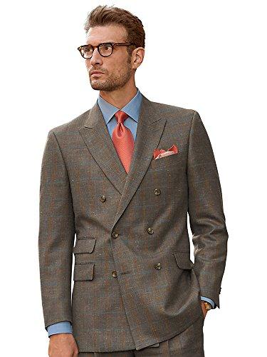 Paul Fredrick Men's Taupe Windowpane Wool, Silk \ Linen Suit Jacket Taupe 54 Long