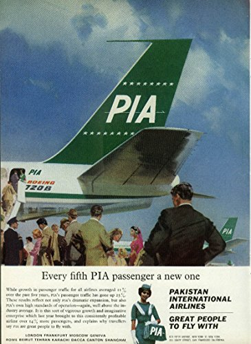 Every fifth PIA passenger a new one Pakistan International Airlines 720B ad 1964