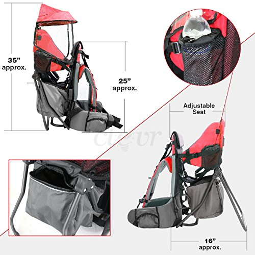 Baby Back Pack Cross Country Carrier Stand Child Kid Sun Shade Visor Shield Red by Clevr (Image #4)