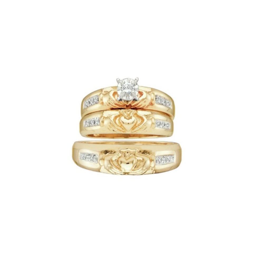 0.1 cttw 14k Yellow Gold Diamond Trio Claddagh Bridal Set Love Loyalty Friendship His and Hers 3 Piece Wedding Rings (Real Diamonds 0.1 cttw, Ring Sizes 4 13) Jewelry