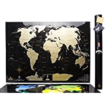 "Black Scratch World Map, ""MyMap Black Edition"" w Large USA Canada States, Personal Birthday gift, 1 Anniversary Gift in Tube - Travel map - Remember and Share Your Adventures"
