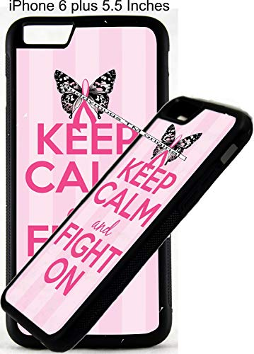Keep Calm And Fight Women's Breast Cancer Ribbon Design 03 Personalized Monogram Customized Rubber Phone Case Cover is compatible with Apple iPhone 4 5 6 6 plus 7