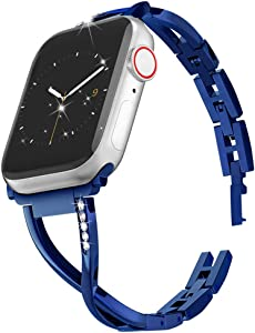 MARGE PLUS Compatible with Apple Watch Band 40mm 38mm 44mm 42mm, Women Bling Wristband for iWatch SE Series 6 5 4 3 2 1 Metal Stylish Strap (Blue,38mm/40mm)