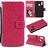 Floral Wallet Case for Huawei P20 Lite,Strap Flip Case for Huawei P20 Lite,Leecase Embossed Totem Flower Design Pu Leather Bookstyle Stand Flip Case for Huawei P20 Lite-Red
