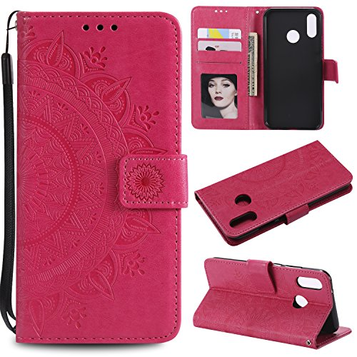 Floral Wallet Case for Huawei P20 Lite,Strap Flip Case for Huawei P20 Lite,Leecase Embossed Totem Flower Design Pu Leather Bookstyle Stand Flip Case for Huawei P20 Lite-Red by Leecase
