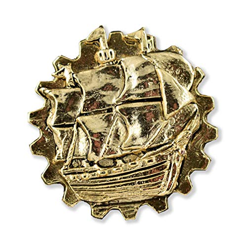 - Creative Pewter Designs Gear Ship Steampunk 22k Gold Plated Lapel Pin, Brooch, Jewelry, GG40