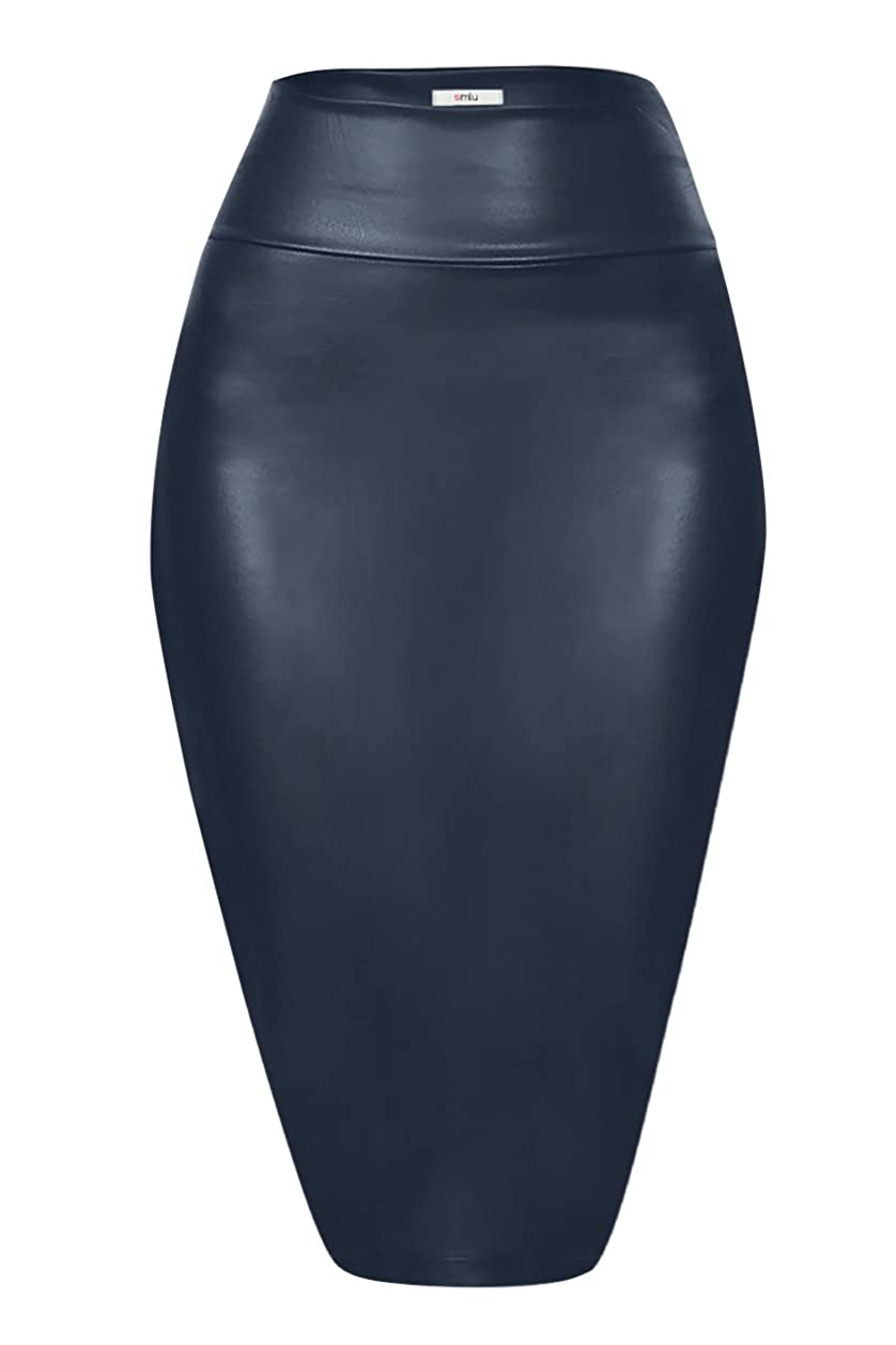 Faux Leather Pencil Skirt Below Knee Length Skirt Midi Bodycon Skirt for Womens USA