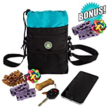 Dog Training Puppy Treat Bag Pouch Travel Collapsible Holder for Water Food Pet with FREE Multicolor Massage Ball - 2 Poop Waste Bags Dispensers - Adjustable Belt Strap