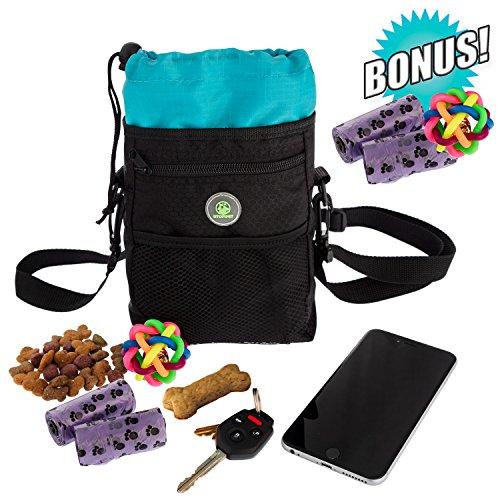 Dog Treat Pouch Training Poop Travel Bag with Collapsible Holder & Adjustable Belt Shoulder Strap Perfect for carrying Pet Food, Toys & Water + FREE BONUS Massage Ball & 2 Poop waste Bag Dispensers.