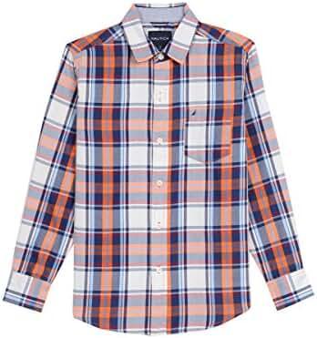 Nautica Boys' Long Sleeve Plaid Twill Button Down Shirt