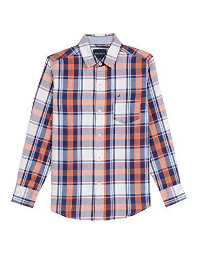 Nautica Big Boys' Long Sleeve Plaid Twill Button Down Shirt, Orange, X-Large (18/20)