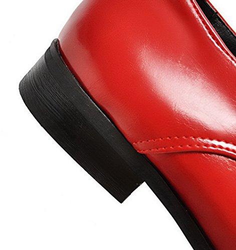 Allhqfashion Kvinners Solid Pu Lave Hæler Blonder-up Pekte Tå Pumper-sko Røde