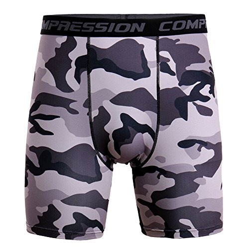 WEUIE Men's Long Compression Shorts,Men Quick Dry Performance Athletic Shorts Sports Training Bodybuilding Summer Short Pants Gray