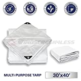 Windscreen4less 30' x 40' Heavy Duty 10 Mil Waterproof White Poly Tarp