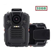 Boblov 32GB Ambarella A7L50 Super HD 1296P Police Body Worn Camera 8Hours 140°Auto Infrared Night-Vision Motion Detection Police Military Body Camera
