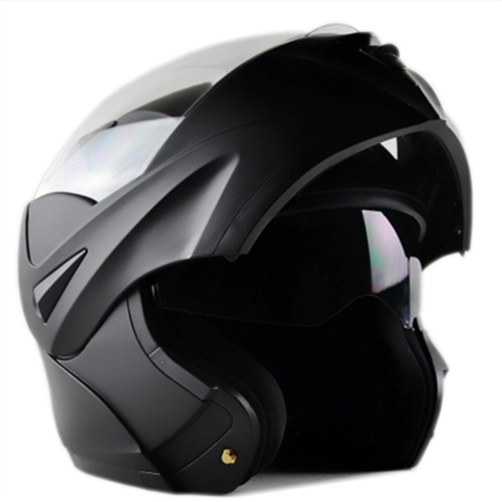 ILM 10 Colors Motorcycle Dual Visor Flip up Modular Full Face Helmet DOT (L, Matte Black) by ILM