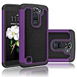 LG Treasure LTE Case, LG K7 Case, LG Tribute 5 Case, Tekcoo [Tmajor] [Purple] Shock Absorbing Hybrid Rubber Plastic Impact Defender Rugged Hard Cases Cover Shell For LG Tribute 5 / K7 / Treasure