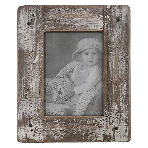 kuip Design 6x8 Picture Frame Rustic Distressed Weathered Reclaimed Wood Cream Stand with Easel Back Horizontally or Vertically on The Tabletop Decor