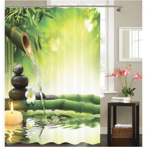 Poseca Shower Curtain 3D Print Bathroom Spring Curtains For 72x72