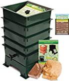 Worm Factory DS4GT 4-Tray Worm Composting Bin + Bonus ''What Can Red Wigglers Eat?'' Infographic Refrigerator Magnet - Vermicomposting Container System - Live Worm Farm Starter Kit for Kids & Adults