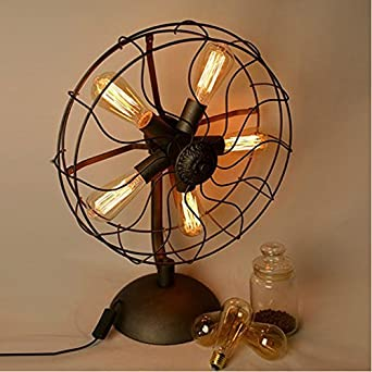 Onepre Vintage Industrial Table Lamps 5 Lights Metal Fans
