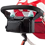 Stroller Organizer Bag -Universal Fit, Large Storage Space for Baby's Accessories and Phone, Insulated Cup Holders, Shoulder Strap, Removable Compartments, Stroller Caddy, Parent Console Organizer