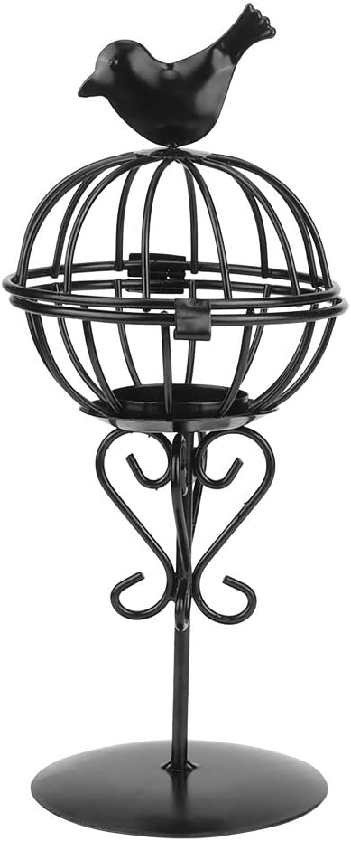 HERCHR Tea Light Candle Holders, Decorative Iron Bird Cage Candle Burner Ornament for Home and Wedding Party, 9.1 x 3.9 in(Black)