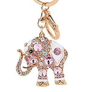 Lucky Elephant Colorful Opal Rhinestone Plating Women Car/Bag Keychain Purse Charm - Pink