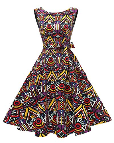 Hanpceirs Women's Boatneck Sleeveless Swing Vintage 1950s Cocktail Dress African XL (African Print Dress)