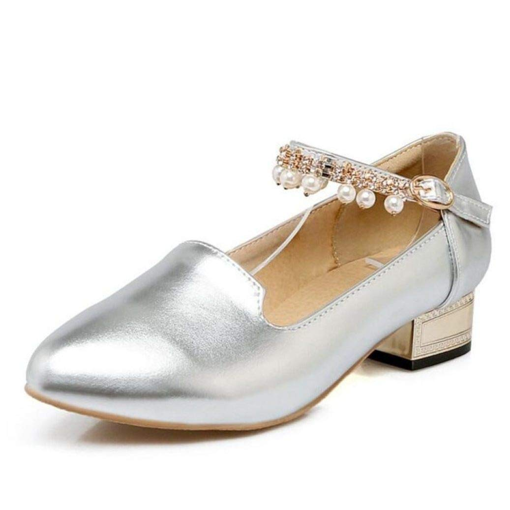 Sliver DETAIWIN Women Ankle Strap Dress Oxfords PU Leather Anti-Skid Comfortable Rhinestone Buckle Fashion Pumps shoes