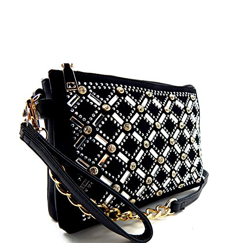 Rhinestone Embellished 2 Compartment Wristlet Shoulder Bag Black