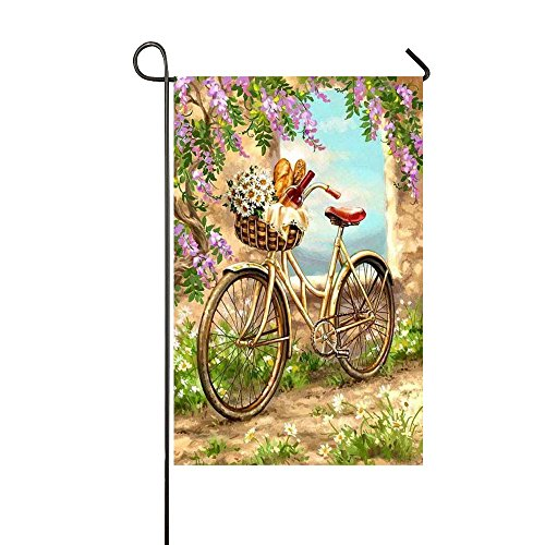 Rossne G sun Spring Country Road Bicycle Red Wine Daisy Flower Basket Garden Flag House Flag Decoration Double Sided Flag 12.5 x 18 - Wine Daisy