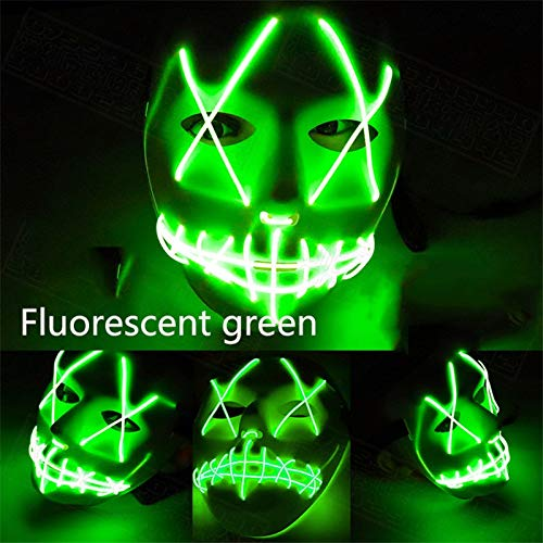 Kuteck LED Mask for Halloween, Clubbing Light Up Stitches LED Mask Costume Halloween Rave Cosplay Party Purge (3 Flashing Modes) (Green) -