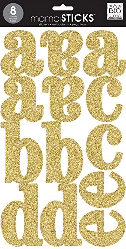 Large Glitter Stickers - me & my BIG ideas Large Alpha Sticker, Cadence, Gold Glitter