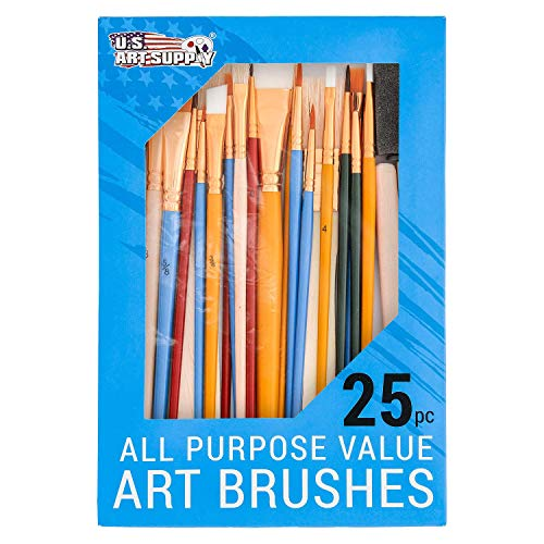 U.S. Art Supply 25 Piece All-Purpose Assorted Artist Paint Brush Set - Use for Acrylic, Oil, Watercolor and Other Paint Mediums from US Art Supply