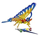 Bfun Woodcraft 3D Puzzle Assemble and Paint DIY Toy Kit, Butterfly