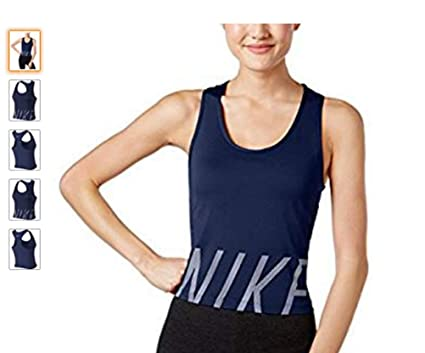 d2688b40dc NIKE Womens Cropped Logo Tank Top, Blue, Small at Amazon Women's ...