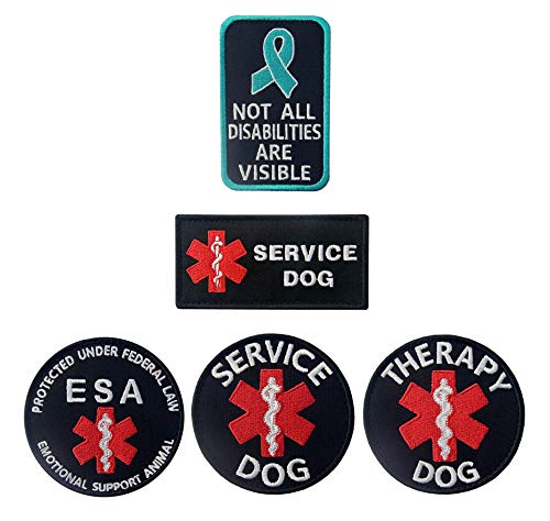 Antrix 5 Pieces Dog Patches EMT EMS Medic Medical Service Dog Patch Not All Disabilities are Visible Patch ESA Emotional Support Animal Patch Therapy Dog Morale Patch for Dogs and Pets (Emotional Support Animal Patch)