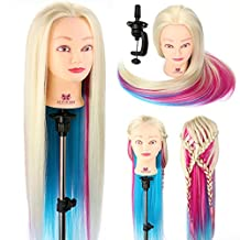 """Neverland Beauty 26"""" 100% Synthetic Fiber Long Hair Hairdressing Training Head Manikin Doll Multicolored with Clamp Stand Practice Mannequin"""