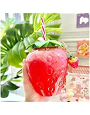 Water Bottle with Straw and Lid,Cute Transparent Strawberry Cup,Plastic Tumbler Coffee Milk Tea Fruit Cups with Wide Reusable Straw,Portable Water Cup for Girls and Kids 1Pc Pink