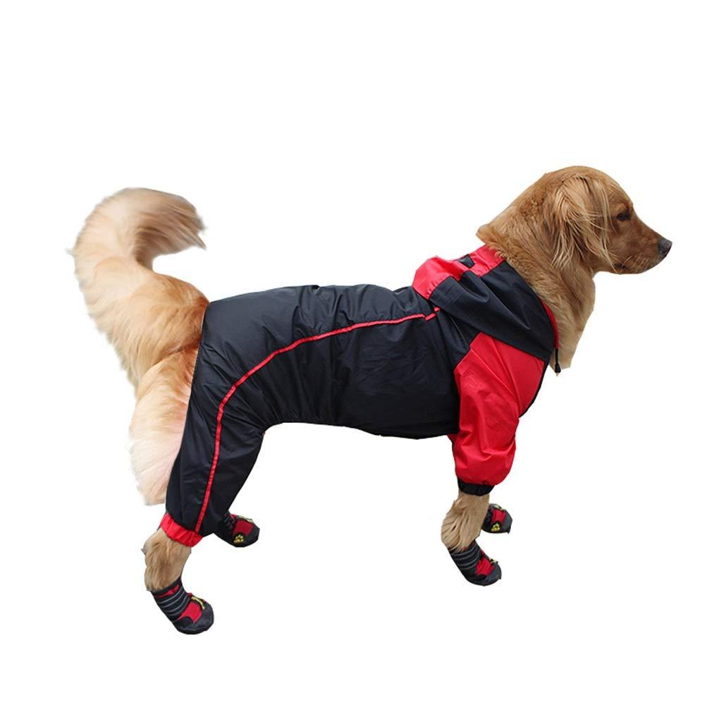 Black XXXXXXL Black XXXXXXL GHH-Pet Costumes Dog Jacket Adjustable Lightweight Raincoat Four Feet Waterproof Large Dog Fully Enclosed Summer Thin Section Rainproof Black Red (color   Black, Size   XXXXXXL)