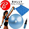 Bally Fitness & Yoga Wellness Kit - 65cm Ball, Pump, Excercise Mat & Stretch Resistance Band (Blue)