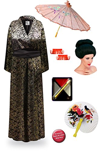 Paisley Geisha Robe Plus Size Supersize Halloween Costume - Deluxe Black Bun Wig Kit 5x/6x -