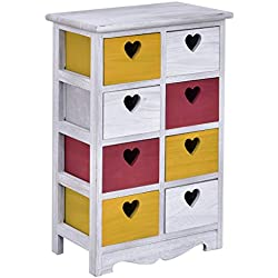 Giantex Colorful Wood Bedside Table Nightstand Cabinet Bedroom Chest 8 Storage drawers