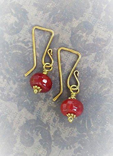Red Fire Agate Earrings-Art Deco Inspired Geometric Earrings-Brass Findings-18 Gauge Ear Wires-Red and Gold Gemstone Jewelry