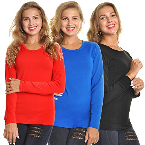 Angelina Women's Fleece Lined Long Sleeve Thermal Top, 3-Pack, T7915_B_S