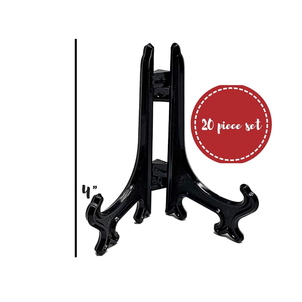 Hinged Easels 1310-4 BANBERRY DESIGNS 4 Black Plastic Easel Folding Stands Pack of 20 Display Easels