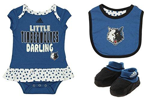 adidas NBA Newborn Minnesota Timberwoles 3 Piece Onesie Bib and Booty Set, Blue 6-9 Months