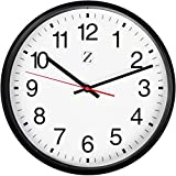 Zoyer Large Wall Clock 12 Inch Round Non-Ticking Silent Decorative Wall Clock - Easy To Read Large Numbers For Universal Use