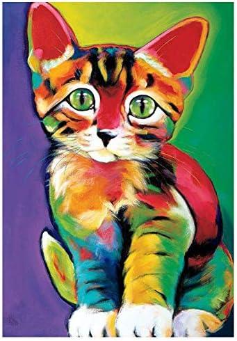 猫 ダイヤモンド ペインティング フルドリル DIY 5D ダイヤモンド 刺繍キット 大人と子供用 15.7x11.8インチ